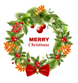 Christmas Berry Branches Wreath vector image