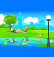 picnic in city park template vector image