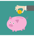 Hand and piggy bank with dollar coin Card Flat des vector image