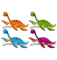 Sauropods in four different colors vector image vector image