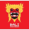 Bali traditional mask pixel art card vector image