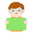 cute boy holding blank banner vector image