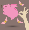 Hand Try To Catch Pink Piggy Bank vector image
