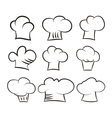 Set chef and cook hats set isolated on white vector image