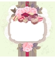 White vertical frame with branches of pink roses vector image