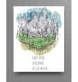Travel concept hand drawn over green watercolor vector image