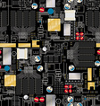 Circuit board with components and wires seamless vector image
