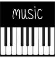 Big piano Keys and white word Music Card vector image