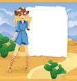 blonde cowboy girl in desert vector image
