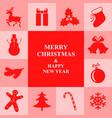 christmas congratulatory card with symbol border vector image