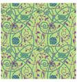medieval flowers pattern green vector image
