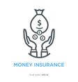 money insurance line flat icon vector image