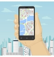 smartphone with mobile gps navigation vector image