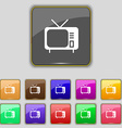 tv icon sign Set with eleven colored buttons for vector image
