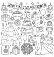 quinceanera doodle set vector image