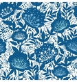 Blue and white garden plants silhouettes seamless vector image