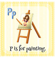 Flashcard alphabet P is for painting vector image vector image