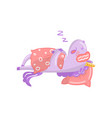 cute unicorn character sleeping on its bed funny vector image