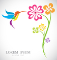 design of hummingbird and flowers vector image