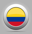 Flag of Colombia Shiny metal gray round button vector image