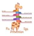 Flu Prevention Tips with giraffe vector image