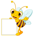 funny bee cartoon waving and holding blank sign vector image