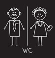 men and women wc sign on black board wc icon vector image
