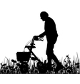 Old woman with walking frame vector image