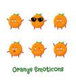 orange smiles cute cartoon emoticons emoji icons vector image