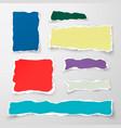 set of color torn paper pieses scrap paper vector image