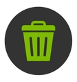 Trash Can flat eco green and gray colors round vector image