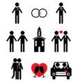 Gay man wedding 2 icons set vector image