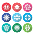 Christmas winter snowflakes flat design icons set vector image