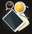 tablet with black coffee and pancake vector image