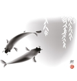 Koi carps and willow vector image