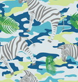 Blue zebra and palm leaves on the blue military vector image