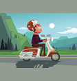Happy smiling old man character drive scooter vector image
