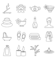 Spa treatments icons set outline style vector image