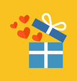 Open gift box with fly hearts Flat design Isolated vector image