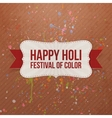 Holi Festival of Color paper Banner with Ribbon vector image