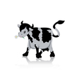Cow chewing flower vector image