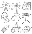 doodle of element summer object collection vector image