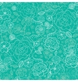 Emerald green floral lineart seamless pattern vector image