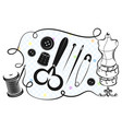 set for sewing and cutting vector image
