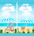 set of summer vacation vertical banners vector image