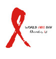 shape of red aids ribbon from brush strokes vector image