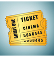 Gold cinema ticket icon isolated on blue vector image
