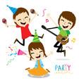 boy and girl enjoy party cute cartoon vector image