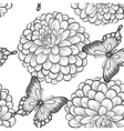 seamless background with butterflies and dahlias vector image