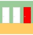Doors on a green wall vector image vector image